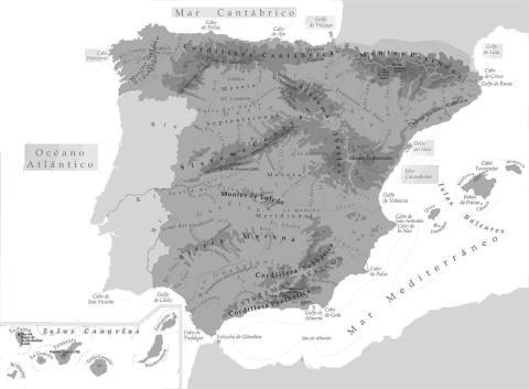 mapa      físico blanco y negro con nombres